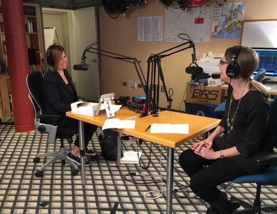 "Suzanne McCabe (left), Scholastic Editor-at-Large and host of the new podcast, ""Scholastic Reads,"" chats with Scholastic Editor, Cheryl Klein (right), about her harrowing experiences trying to keep the ""Harry Potter"" manuscripts top secret."