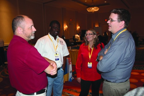 The conference offered plenty of opportunities for networking. Here, Wesley Grigg (Elon University), Reuben Joseph (Texas Southern University), Jo Ann Duron (Northern Virginia Community College), and Doug Schiller (Sonoma State University) talk in between sessions.