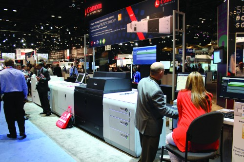 Canon introduced the imagePRESS C10000VP, which prints 100 pages per minute on stocks up to 350 gsm.