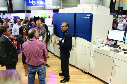 A crowd gathers around the new Xerox iGen 5.