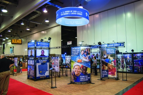 Cedarville University Print Services created a hanging circular trade show banner and other signage with its new HP Latex 360 wide-format printer.