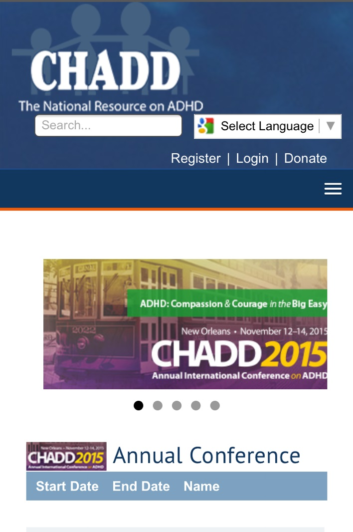 CHADD's responsive site on a mobile device