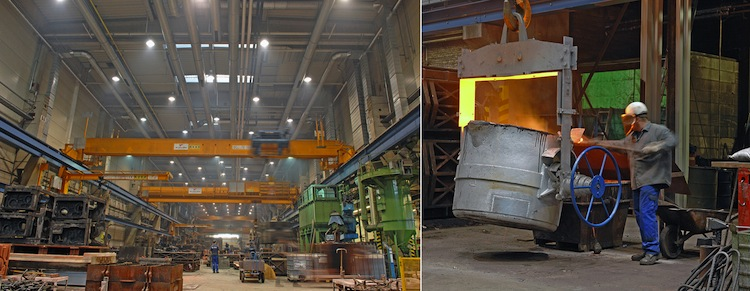 Complex large parts weighing up to 12t can be cast by hand in the foundry (KBA-Gießerei) which was refurbished for over €14m in 2011.