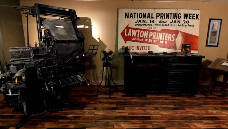 The Printing Museum of the original Lawton family features old fashioned printing tools and equipment.