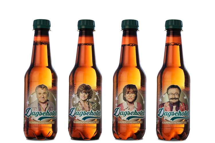 The digitally decorated Dagschotel PET beer bottles printed by Martens Brouwerij that 'talk' to you and each other using a smartphone app.