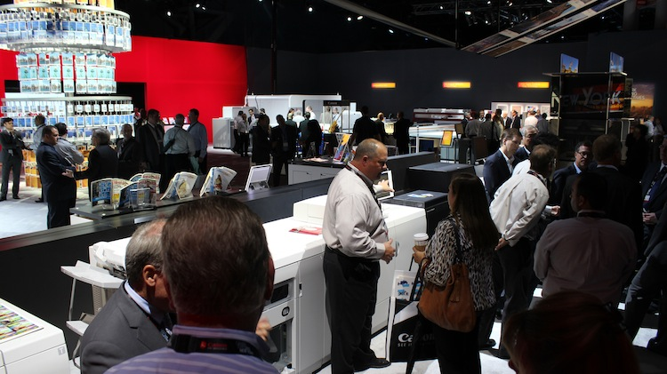 The new 100-page-per-minute imagePRESS C10000VP series drew a lot of attention at Canon Expo 2015.