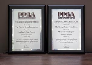 "Mohawk received two 2014 PPSA awards in the ""No OSHA Recordables"" category for locations in Albany and Cohoes, New York."