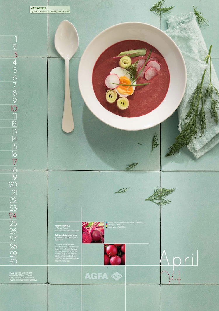An example of cold borscht (beetroot soup) from the month of April.