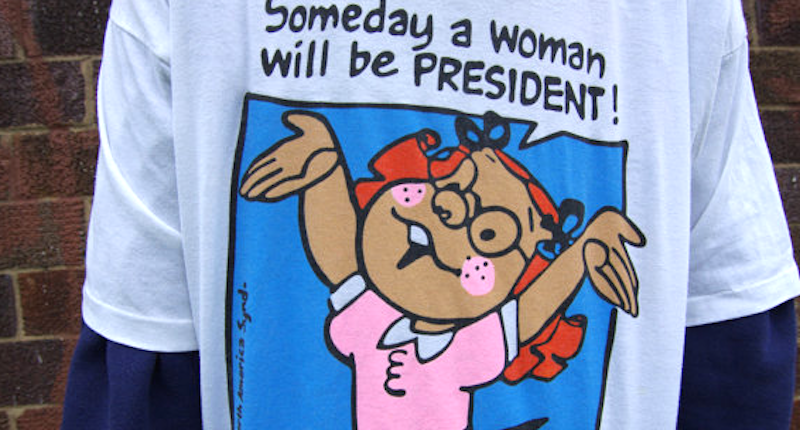 """In 1995, Wal-Mart removed T-shirts featuring the phrase, """"Someday a woman will be president."""" (Image via Etsy)"""