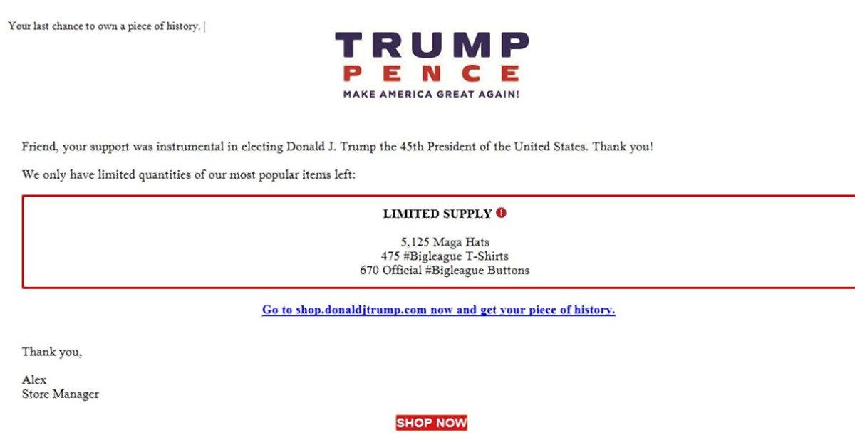 Donald Trump's campaign is selling leftover merchandise at a discounted rate. (Image via New York Daily News)